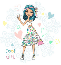 cute fashionable girl vector image