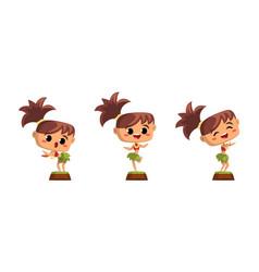 cute girl hawaiian dancers set funny child vector image