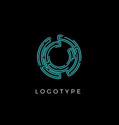 Cyber letter o for digital technology logo concept vector