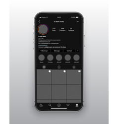 design template instagram dark mode app ui vector image