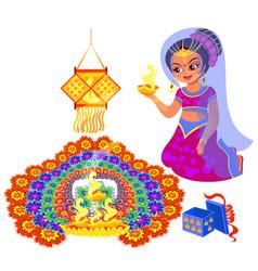 Diwali holiday and woman with fire near rangoli vector