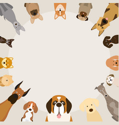 Dog breeds round frame vector