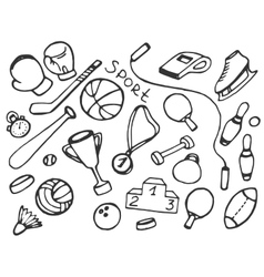 Doodle set of sport vector image