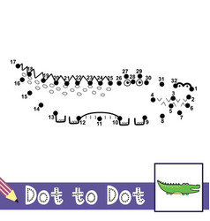 Dot to dot numbers game with cute alligator vector