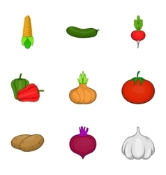 Ecological vegetables icons set cartoon style vector