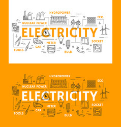 Electricity power and energetics icons vector
