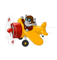 elephant is flying on an airplane vector image