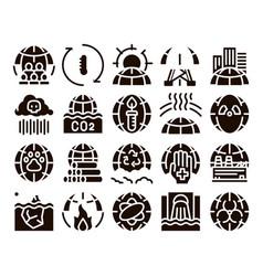 Environmental problems glyph icons set vector