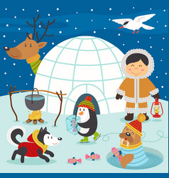 Eskimo boy and arctic animals on north pole vector