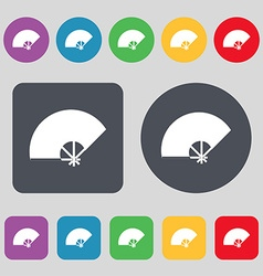 Fan icon sign A set of 12 colored buttons Flat vector