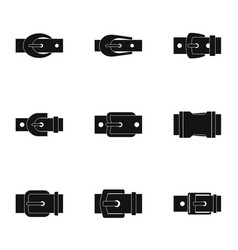 Fashion belt buckle icon set simple style vector