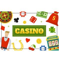 flat casino elements concept vector image