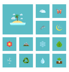 flat icons beauty insect conservation isle beach vector image