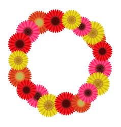 Frame wreath of gerbera flowers vector