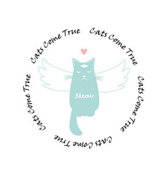 funny cat with wings and circle text vector image