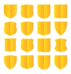 Golden shields set vector