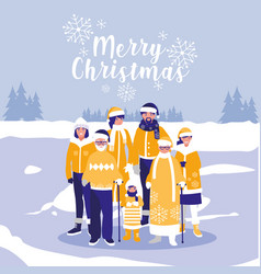 group of family with clothes christmas in winter vector image