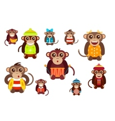 Happy cartoon monkey dancing party birthday vector