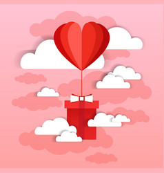 heart shaped air balloon fly with present box over vector image