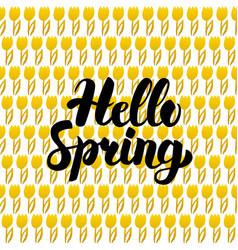 Hello spring postcard design vector