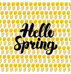 hello spring postcard design vector image