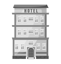 Hotel building icon gray monochrome style vector image