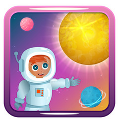 icon with astronaut sun planets and stars vector image