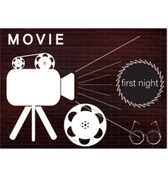Icons of the camera and film on a brick wall vector