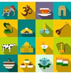 India icons flat vector image