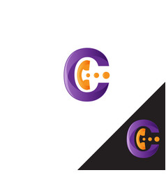 initial letter c with phone handles shape in vector image