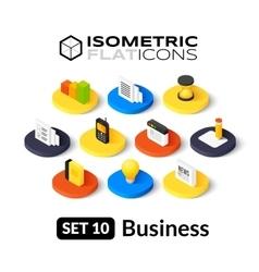 Isometric flat icons set 10 vector image