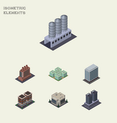 isometric urban set of water storage clinic vector image
