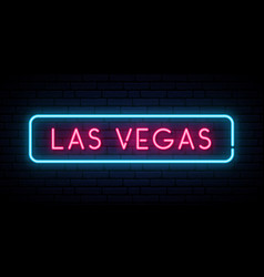 las vegas neon sign bright light signboard vector image
