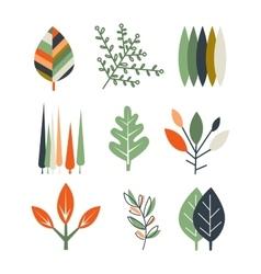 Leaf Set in Flat Design vector image