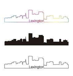 Lexington skyline linear style with rainbow vector