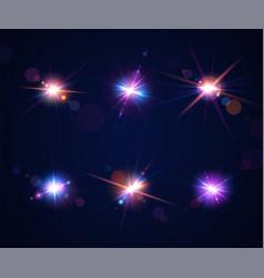Light effects glare flash set lens flares vector