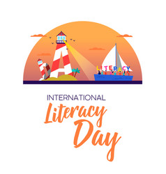 Literacy day banner concept for kids education vector