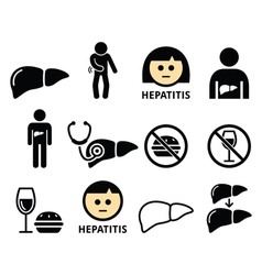 Liver disease hepatitis health icons set vector
