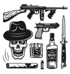 Mafia and gangsters set of objects or elements vector