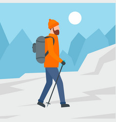 man walking in mountain background flat style vector image
