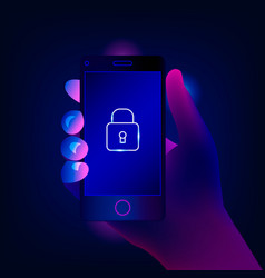 Mobile security data protection concept vector