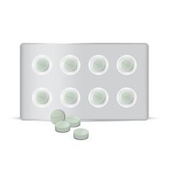 Mock up realistic circle green pills medicine vector