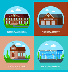municipal buildings design concept vector image