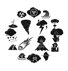 natural disaster icons set simple ctyle vector image