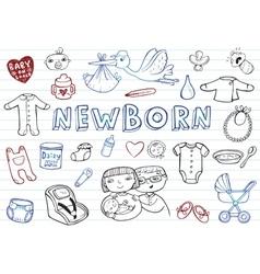 Newborn doodles set vector image