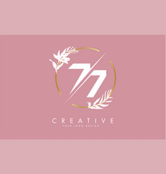 Number 77 7 logo design with golden circle vector