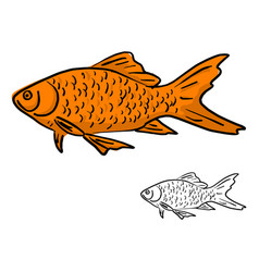 orange fish sketch doodle hand vector image