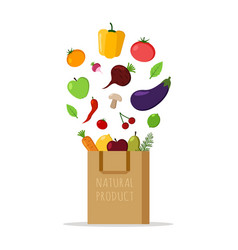 paper bag with fresh vegetables and fruits vector image