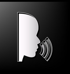 people speaking or singing sign gray 3d vector image