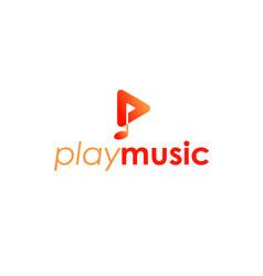 play music logo design vector image